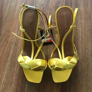 Zara yellow satin platform heels